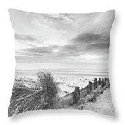 Beautiful Beach Coastal Low Tide Landscape Image At Sunrise In B Throw Pillow