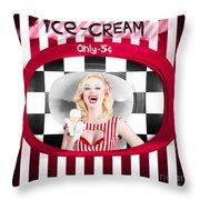 Beautiful Blonde Woman Serving Ice Cream Throw Pillow
