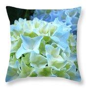 Beautiful Blue Hydrangea Floral Art Prints Creamy White Pastel Throw Pillow