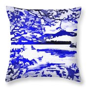 Beautiful Blue Pop Art Scene Throw Pillow