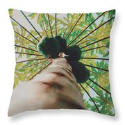 Beautiful Branches And Leaves Of Papaya Tree Along With The Tasty Exotic Fruit Fill The Frame Throw Pillow