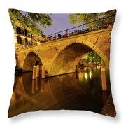 Beautiful Bridge Weesbrug Over The Old Canal In Utrecht At Dusk 220 Throw Pillow