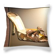 Beautiful Brocade Slippers For A Ball Throw Pillow