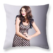 Beautiful Brunette Girl Wearing Retro Zipper Dress Throw Pillow