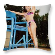 Beautiful Brunette Model At The Beach Throw Pillow