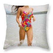 Beautiful Brunette Model On The Beach Throw Pillow