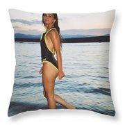 Beautiful Brunette On The Beach Throw Pillow