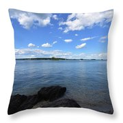 Beautiful Calm Ocean Water's In Casco Bay Maine Throw Pillow