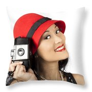Beautiful Chinese Woman Holding Old Film Camera Throw Pillow