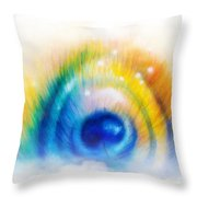 Beautiful Color Painting Peacock Feather Illustration On White Background Throw Pillow