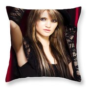 Beautiful Costumed Young Showgirl Throw Pillow