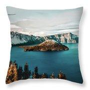 Beautiful Crater Lake Throw Pillow