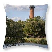 Beautiful Day At Currituck Beach Lighthouse Throw Pillow