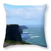 Beautiful Day At The Cliff's Of Moher In Ireland Throw Pillow
