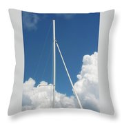 Beautiful Day At The Marina - Mast And Clouds - Color Throw Pillow