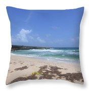 Beautiful Deserted Boca Keto Beach In Aruba Throw Pillow