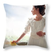 Beautiful Edwardian Woman In The Garden Throw Pillow