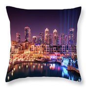 Beautiful Famous Downtown Area In Dubai At Night, Dubai, United Arab Emirates Throw Pillow