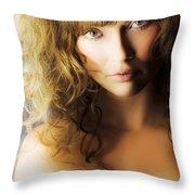 Beautiful Fashion Model Throw Pillow by Jorgo Photography - Wall Art Gallery