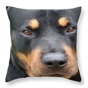 Beautiful Female Rottweiler Portrait Vector Throw Pillow