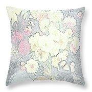 Beautiful Flower Sketch  Throw Pillow
