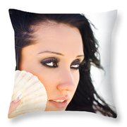 Beautiful Girl Holding A Cockle Shell Throw Pillow