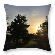 Beautiful Greenery Park In The Afternoon  Throw Pillow