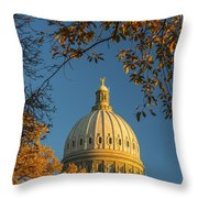 Beautiful Idaho State Capitol In Autumn Morning Throw Pillow