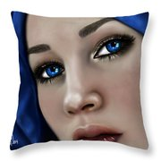 Beautiful In Blue Version 2 Throw Pillow
