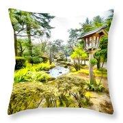Beautiful Kenrokuen Throw Pillow