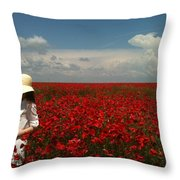 Beautiful Lady And Red Poppies Throw Pillow