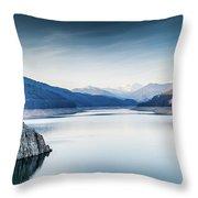 Beautiful Landscape Of The Lake Vidraru Romania Throw Pillow