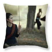 Beautiful Lao Girl In A Native Dress, Sitting Leisurely With A B Throw Pillow