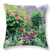 Beautiful Lot Of Dahlias,butchart Gardens,victoria,canada Throw Pillow