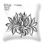 Beautiful Lotus... Black-white Mood Throw Pillow