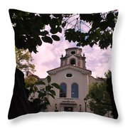 Beautiful Mason Hall - Pomona College - Trees Framing Throw Pillow