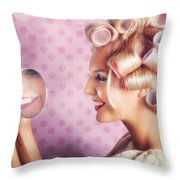 Beautiful Model With Fresh Makeup And Hairstyle Throw Pillow by Jorgo Photography - Wall Art Gallery