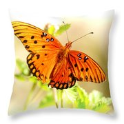 Beautiful Gulf Fritillary Throw Pillow by Donna Bentley
