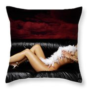 Beautiful Naked Woman On A Couch Throw Pillow