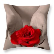 Beautiful Nude Woman Holidng Red Rose Throw Pillow