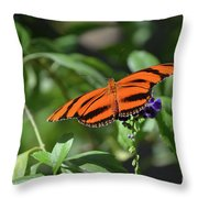 Beautiful Orange Oak Tiger Butterfly In Nature Throw Pillow