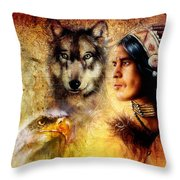 Beautiful Painting Of An Young Indian Man And Woman  Accompanied Throw Pillow