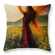 Beautiful Painting Oil On Canvas Of A Fairy Woman In A Historic Dress Standing In Rays Of Sunlight A Throw Pillow