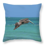 Beautiful Pelican Flying Over Aqua Waters In Aruba Throw Pillow
