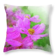 Beautiful Pink Flower Blooming For Background. Throw Pillow