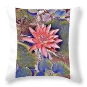 Beautiful Pink Lotus Abstract Throw Pillow