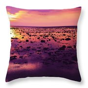 Beautiful Purple Sunset During Tide Shows Up Rocky Beach Throw Pillow