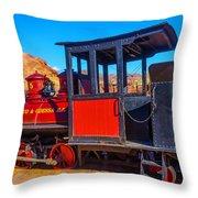 Beautiful Red Calico Train Throw Pillow