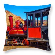 Beautiful Red Calico Train Throw Pillow