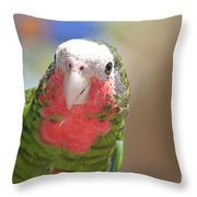 Beautiful Red Feathers On The Throat Of A Green Conure Bird Throw Pillow